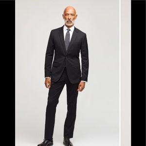 Oscar Dela Renta Black Wool Men's Blazer Suit: 44R